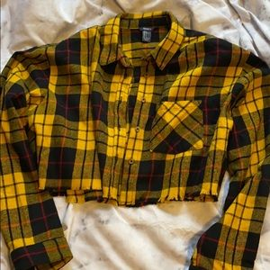 Forever 21 cropped yellow flannel
